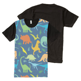 Colorful Dinosaur Pattern All-Over Print T-shirt