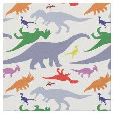 Colorful Dinosaur Pattern (Light) Fabric