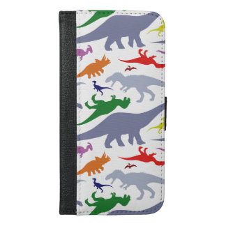 Colorful Dinosaur Pattern (Light) iPhone 6/6s Plus Wallet Case