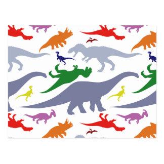 Colorful Dinosaur Pattern (Light) Postcard