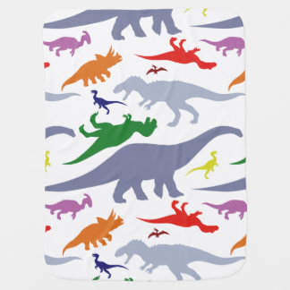 Colorful Dinosaur Pattern (Light) Swaddle Blanket