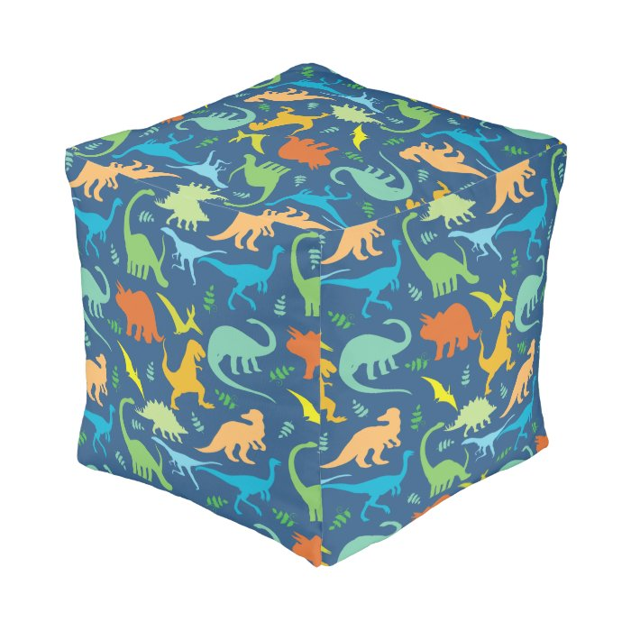 Colorful dinosaur pattern pouf zazzle - Design pouf ...