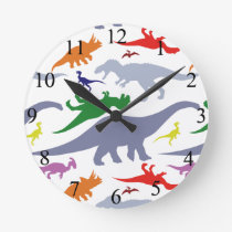 Colorful Dinosaur Pattern Round Clock