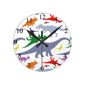 Colorful Dinosaur Pattern Round Clock