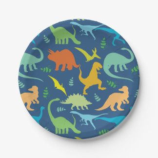 Colorful Dinosaur Pattern 7 Inch Paper Plate