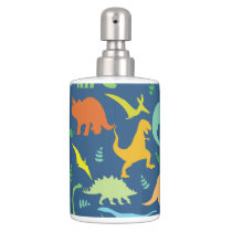 Colorful Dinosaur Pattern Soap Dispenser And Toothbrush Holder