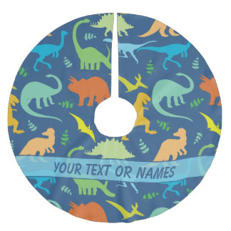 Colorful Dinosaur Pattern to Personalize Brushed Polyester Tree Skirt