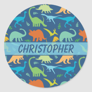 Colorful Dinosaur Pattern to Personalize Classic Round Sticker
