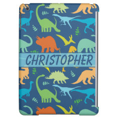 Colorful Dinosaur Pattern To Personalize Ipad Air Covers at Zazzle