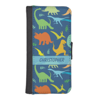 Colorful Dinosaur Pattern to Personalize iPhone SE/5/5s Wallet