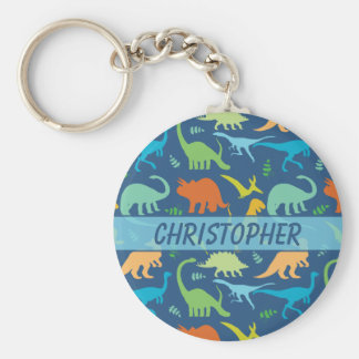Colorful Dinosaur Pattern to Personalize Basic Round Button Keychain