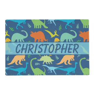Colorful Dinosaur Pattern to Personalize Laminated Placemat