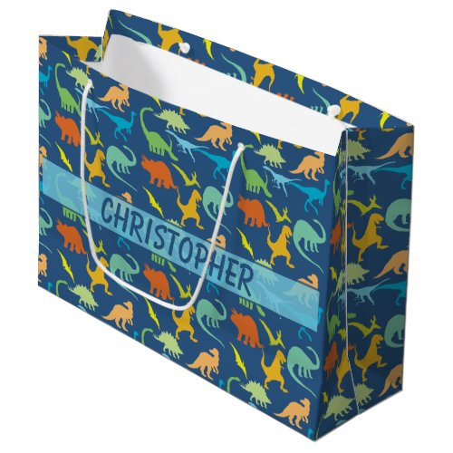Colorful Dinosaur Pattern to Personalize Large Gift Bag