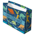 Colorful Dinosaur Pattern To Personalize Large Gift Bag at Zazzle