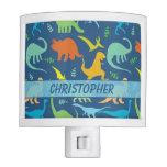 Colorful Dinosaur Pattern To Personalize Night Light at Zazzle