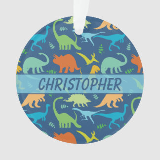 Colorful Dinosaur Pattern to Personalize Ornament