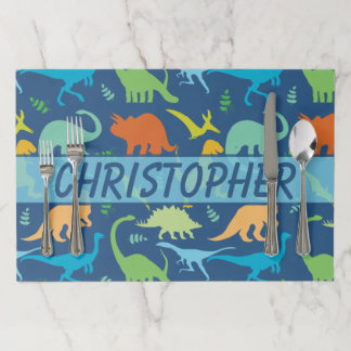 Colorful Dinosaur Pattern to Personalize Paper Placemat