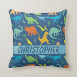 Colorful Dinosaur Pattern to Personalize Throw Pillows