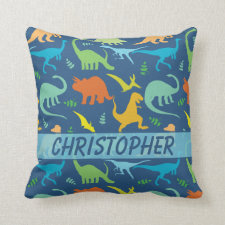 Colorful Dinosaur Pattern to Personalize Pillows