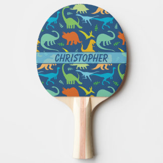 Colorful Dinosaur Pattern to Personalize Ping-Pong Paddle