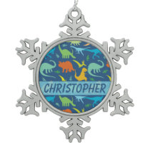 Colorful Dinosaur Pattern to Personalize Snowflake Pewter Christmas Ornament