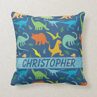 Colorful Dinosaur Pattern to Personalize Throw Pillow