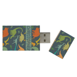 Colorful Dinosaur Pattern to Personalize Wood USB Flash Drive