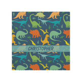 Colorful Dinosaur Pattern to Personalize Wood Canvases