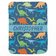 Colorful Dinosaur Pattern to Personalize Swaddle Blanket