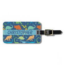 Colorful Dinosaur Personalize Address Luggage Tag