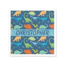 Colorful Dinosaur Personalize Paper Napkin