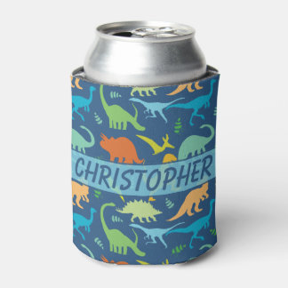 Colorful Dinosaur to Personalize Can Cooler