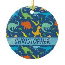 Colorful Dinosaur to Personalize Ceramic Ornament