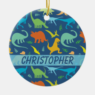 Colorful Dinosaur to Personalize Ceramic Ornament