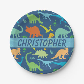 Colorful Dinosaur to Personalize Paper Plate