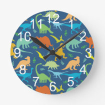 Colorful Dinosaur With Numbers Round Clock