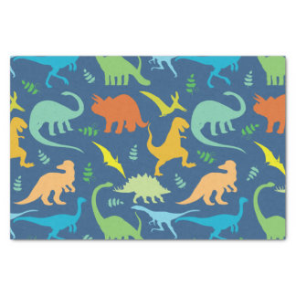 """Colorful Dinosaurs 10"""" X 15"""" Tissue Paper"""