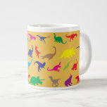 Colorful dinosaurs 20 oz large ceramic coffee mug