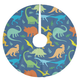 Colorful Dinosaurs Brushed Polyester Tree Skirt