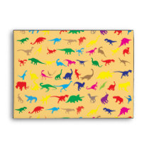 Colorful dinosaurs envelope