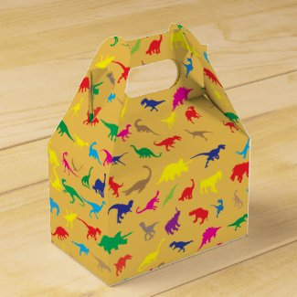 Colorful dinosaurs favor box