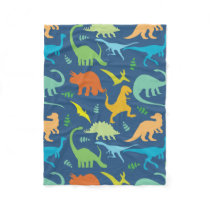 Colorful Dinosaurs Fleece Blanket