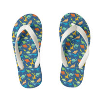 Colorful Dinosaurs Kid's Flip Flops