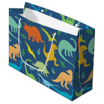 Colorful Dinosaurs Large Gift Bag