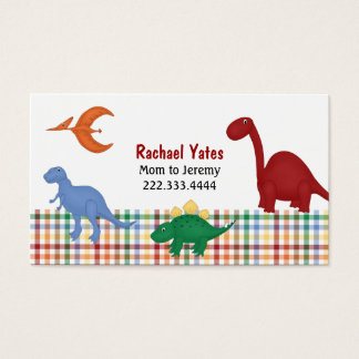 Colorful Dinosaurs Mommy Card