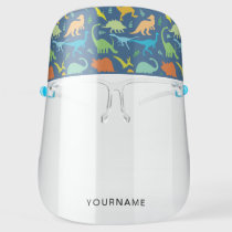 Colorful Dinosaurs Personalized Face Shield