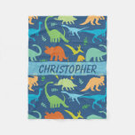Colorful Dinosaurs Personalized Fleece Blanket at Zazzle