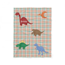 Colorful Dinosaurs Personalized Fleece Blanket