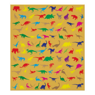 Colorful dinosaurs poster