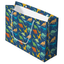 Colorful Dinosaurs Smaller Print Large Gift Bag